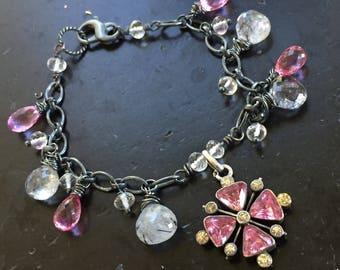 Victorian Paste Maltese Cross Bracelet Victorian Charm Bracelet