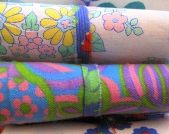 Patchwork Fabric Bundle/Scrap Pack/French Fabric/1970s/Vintage Fabrics/Quilting/Mixed Media Art/Fairy Dresses/Applique/Patchwork Quilt