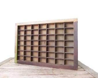 Vintage Printer's Drawer - Rustic Wood Letterpress Tray - Wooden Divided Box - Shadow Box - Display Box With Compartments - Wall Display