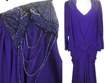 Vintage 80s Dress // Deep Purple Beaded Party Dress M L Long Sleeves Overlay Jacket Drop Waist Beaded Gatsby 20s Flapper Glam Prom Dance