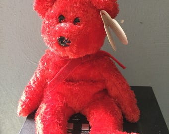 Sizzle red Vintage Rare Birthday  Beanie Bear Original TY Beanie Babies With Swing Tag