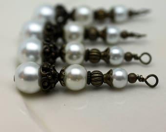 Vintge Style White Pearl Large Long Pendant, Dangle, Earring, Jewelry Pendant, Necklace Pendant