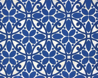 1970s Retro Vintage Wallpaper Blue on Gold Flocked Geometric by the Yard