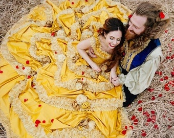 """Beauty and the Beast Wedding Dress- Belle Couture Corset Faity-tale Gown - Disney Inspired Costume """"Belle Gown"""" - Custom Petite to Plus"""