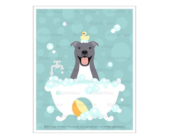 344D - Dog Prints - Gray Pitbull in Bathtub Wall Art - Blue Pitbull Drawing - American Pit Bull Terrier Drawing - Staffordshire Bull Terrier