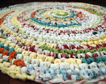Bright and Super Fun Red, Orange, Yellow, Green, Blue, White Circular Handmade Crocheted Rag Rug ~ Made From Repurposed Sheets