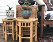 vintage bamboo plant stand - octagon rattan side end table - boho asian