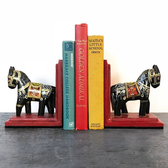 vintage wooden horse bookends - hand painted Mexican folk art - library desk office decor - red black