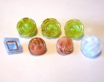 7 Moonglow Buttons - Pink, blue and green