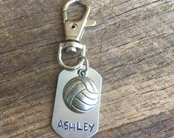 Hand Stamped Key Chain, Water Polo / Volleyball Personalized Keychain = Perfect Team Gift - JO's Team Gift