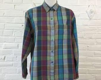 Vintage 1980s Diane Von Furstenberg Plaid Blouse, size XL