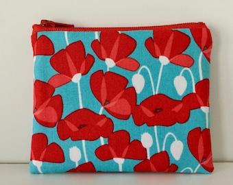 Pretty Poppies Coin Purse - Summer Flowers Cotton Change Purse - Small Zipper Pouch