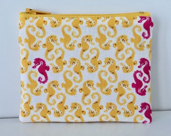 Dancing Seahorses Coin Purse - Ocean Life Cotton Change Purse - Small Zipper Pouch