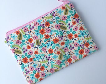 Snack Bag - Kids Snack Bag - Lunch Pouch - Bouquet Toss -  Snack Sack - Lunch Sack - Bright Floral - Zippered Snack Bag