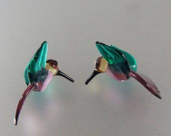 Lampwork Beads Glass Hummingbird Beads Amethyst Purple and Teal Green Hummingbirds Bird Beads RC Art Glass Lampwork Handmade Glass Beads