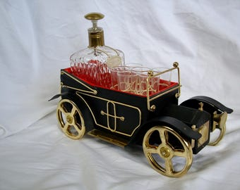 Vintage Scotch Decanter and Glasses in Music Box Car