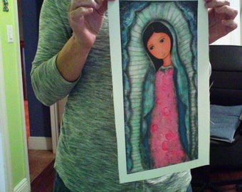 Holy Mary of Guadalupe -  Print on Fabric from Original Painting (7 x 14 inches) by FLOR LARIOS