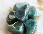 LUSTER TURQUOISE PEAKS .. New 6 Picasso Czech Glass Drop Beads 12x10mm (5874-6)