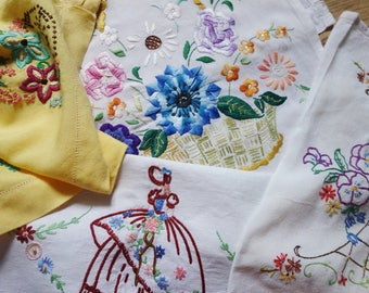 collection of vintage hand embroidered traycloths inc crinoline lady