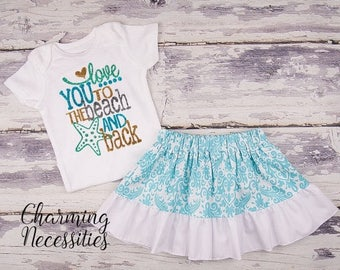 SALE Baby Girl Summer Beach Outfit, Baby Girl Clothes, Toddler Clothes, Glitter Top Ruffled Twirl Skirt, Love You To The Beach and Back Aqua