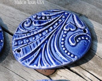 Handmade Pottery Bead in Bright Mirror Blue