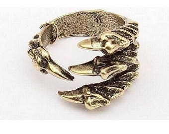 Raven Claw Ring-Antiqued Gold-Crow-Hawk-Bird