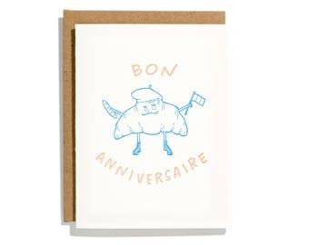 Croissant Birthday - Letterpress Birthday Card - CBR215