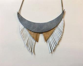 Tribal leather fringe necklace
