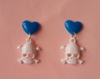 Earrings hearts and skulls ♥ ♥ blue and white