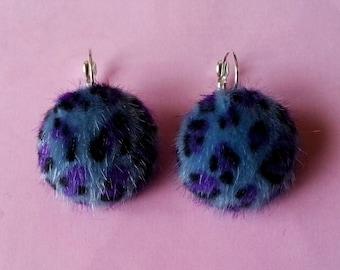 ♥ ♥ leopard fur earrings blue ♥