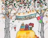 RESERVED for Tonya, Happy Birthday Tree, Custom Watercolor, 5 x 7 inches