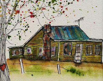 Old Green House, Side View, ORIGINAL 5 x 7, watercolor and ink