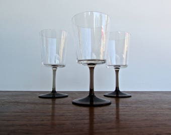Watercolors Gray by Block, Set of 3 Vintage Modern Smoke Wine Glasses w/ Clear Bowl-Smoke Stem