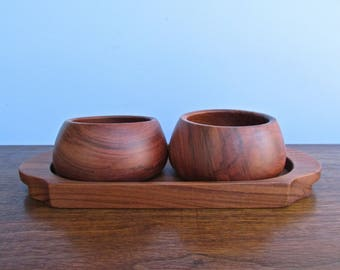 Costa Rican Mid Century Hardwood Bowl Set w/ Tray, Gorgeous Rustic Handturned Bowls