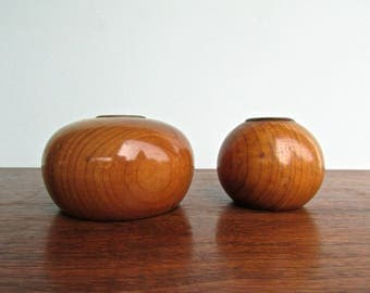 Pacific Myrtle Wood Candleholders from Oregon, Myrtle-Wood Pair Candleholder Mid Century Modern