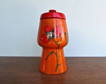 Alvino Bagni Raymor for Bitossi Tall Orange & Red, Mid Century Poppy Canister, 'Modern in The Tradition of Good Taste'