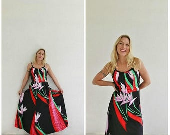 ANNIVERSARY SALE 1970s Tropical Maxi Dress /// Size Medium