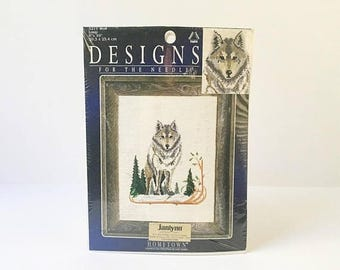 SALE Wolf Embroidery Kit Needlepoint Kit sewing kit Wolf sewing Kit diy kit