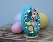 Vintage Style Easter Flocked Egg, Turquoise, Diorama with Bunny and Green Flower
