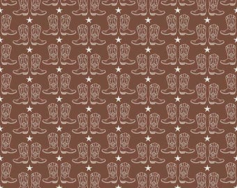 Cowboy Cowgirl Boots Fabric ~ Samantha Walker for Riley Blake ~ Brown and White ~ By the Yard