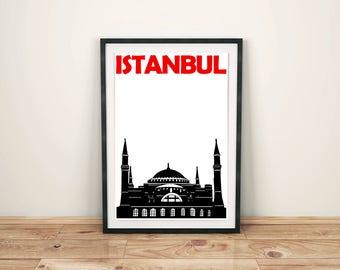 Istanbul Print // Turkish Art // Travel Print // Istanbul Art // Istanbul Poster // City Print // Mens Gift // Womens Gift // Turkey Print