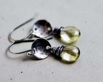 Drop Earrings, Lemon Quartz, Quartz Earrings, Wire Wrapped, Lemon Yellow, Sterling Silver, Gemstone Earrings, Dangle Earrings, PoleStar