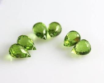 30% OFF SALE Peridot Briolette Beads - 6 Drops - Peridot Beads - 3 Pairs