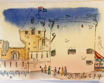 Fortified walls of St. Malo, Brittany; original watercolor #2