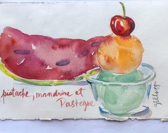 "Riviera gelato pistache et mandarine, original watercolor, 5 1/2"" x 8 1/2"""