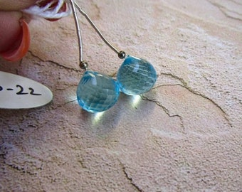 20% Off OUT Of TOWN SALE Aquamarine Blue Topaz Quartz Onion Briolette Beads 12mm, Matched Pair Gemstone Beads,