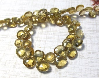 20% OFF SALE AAA Natural Champagne Quartz Briolette Beads ,6mm 7mm Beer Quartz gemstone 8 Inches