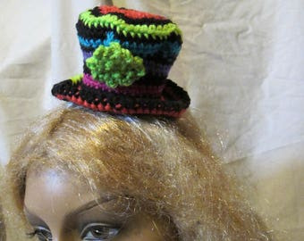 Bright Stripes Mini Top Hat, Steampunk Mini Top Hat, Steampunk Hat, Alice Style Hat, Mad Hatter Hat, Mini Hat, Mini Madhatter Hat