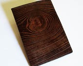 """Leather Journal Cover - Moleskine Notebook Cover - Fits 5"""" x 8.25"""" Cahiers - Wood Grain Design"""