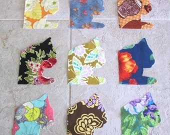 Set of 9  Window Sill Kitty Cat Fusible Iron-on Cotton Fabric Appliques